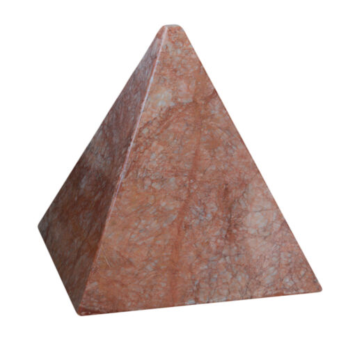 Piramide in Marmo Rosso Alhambra Red Italian Marble Pyramid Sculpture Home 35cm
