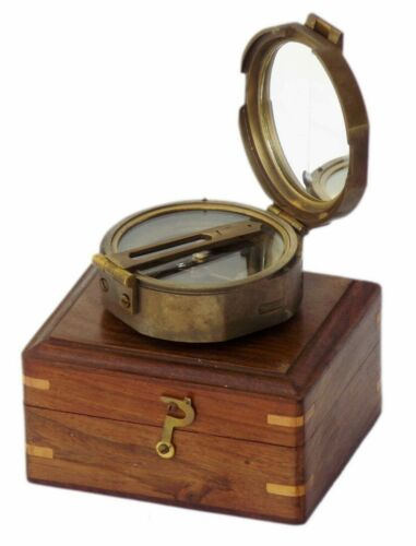 Solid Antique Brass Vintage Style Brunton Compass With Wooden Box Gift Item