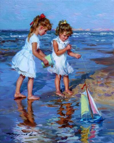 Two little girls at the seaside Oil Painting Giclee Art Printed on canvas L2709
