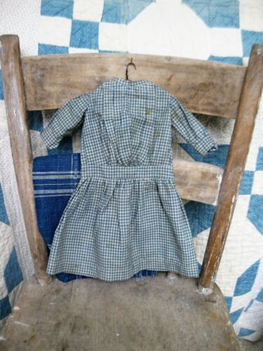 Antique Doll Dress Blue Checked Calico Machine Sewn Free Shipping