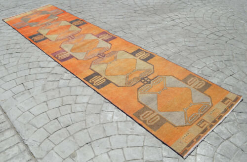 Faded Hand Knotted Turkish Oushak Orange Runner Rug Distressed Rug 3' x 12'