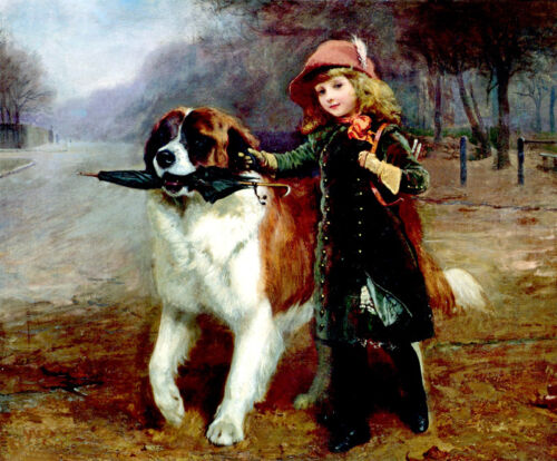Girl and Dog oil painting Giclee Art Printed on canvas L271
