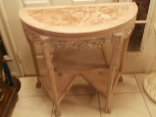 ANTIQUE /VINTAGE HAND CARVED CONSOLE HALL HALF MON TABLE MARBLE TOP