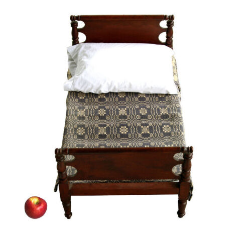 Antique Doll's Bed, 19th Century, Cherry, with antique coverlet