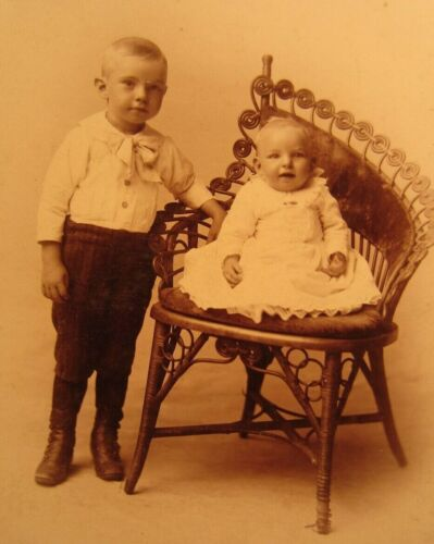 Victorian Antique Cabinet Card Photo of Young Children Siblings Boy and Girl