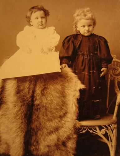 Victorian Antique Cabinet Card Photo of Young Children Siblings Two Girls Sister