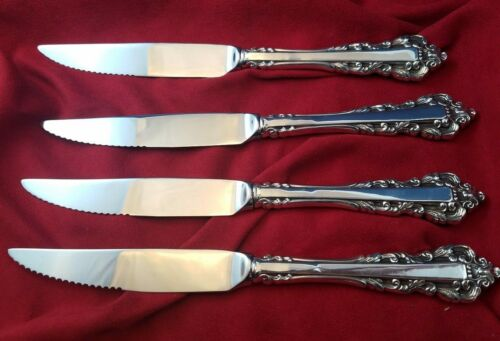 Set of 4  Medici New by Gorham Sterling Silver Steak Knives Custom Made