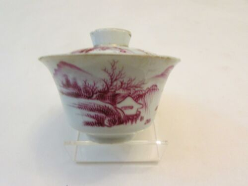 Antique Republic Period Red Enamel Tea Cup& Lid With Mountain/River View & Poem