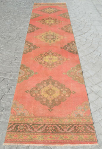 3x14 ft MUTED COLOR Hand Knotted Turkish Oushak Runner Rug Distressed FADED Rug