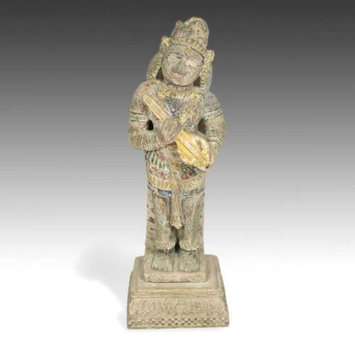 ANTIQUE STANDING FIGURE OF A MUSICIAN CARVED PAINTED STONE INDIA 18TH C.