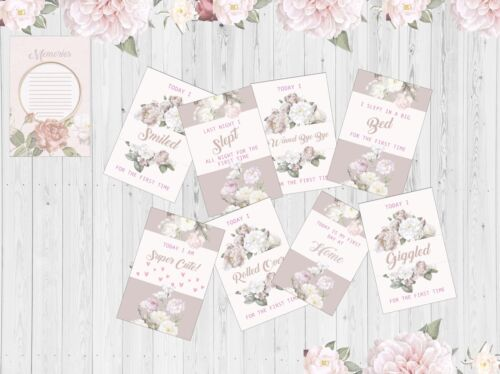 Baby Milestone Cards, 4x6 Photo Prop, 37 Cards, Pink Flower