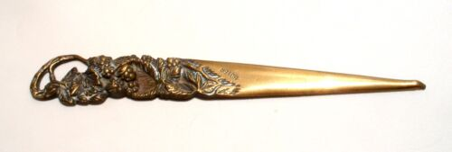 STUNNING Antique Art Nouveau Brass Letter Opener Desk Table Vines BOYER