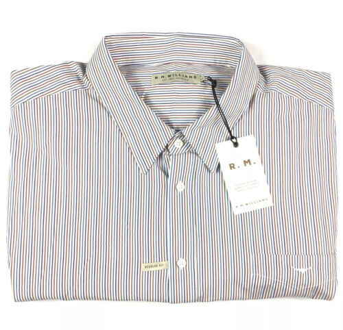 RM Williams Mens Collins White Striped Long Sleeve Shirt 4XB New RRP $129