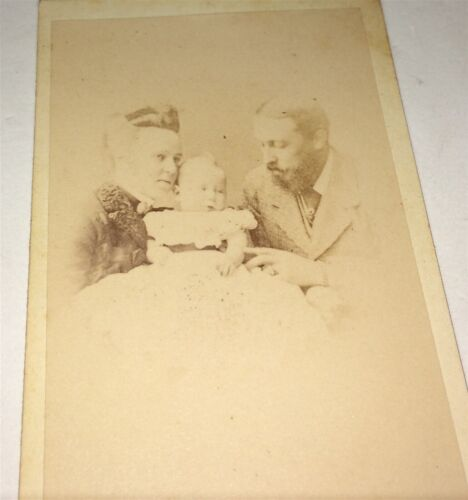 Rare Antique Victorian Family Beautiful Mother, Father Tickling Child CDV Photo!