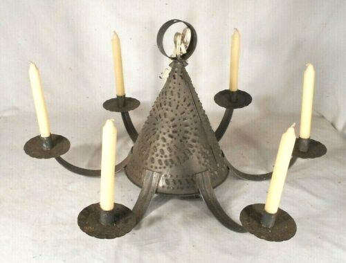 VINTAGE MID CENTURY 6 ARM TIN CANDLE CHANDELIER WITH CENTER LIGHT