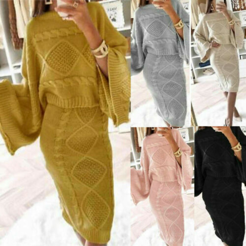 Women Ladies Baggy Two Piece Chunky Cable Knitted Lounge Wear Top Skirt Suit Set