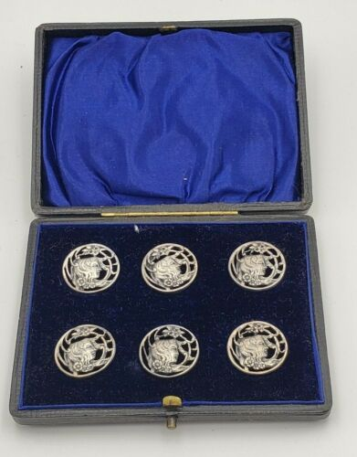 Unique Vintage Silverplate Art Nouveau Buttons of Woman in Fitted Box #7384