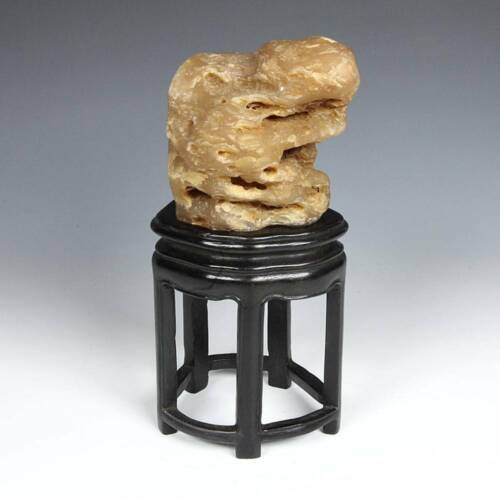 ANTIQUE CHINESE STONE GONGSHI SCHOLAR'S ROCK WITH CARVED WOOD BASE CHINA