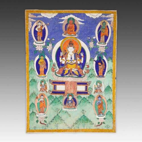 ANTIQUE THANGKA PAINTING AVALOKITESHVARA CLOTH TIBET BUDDHISM EARLY 20TH C.