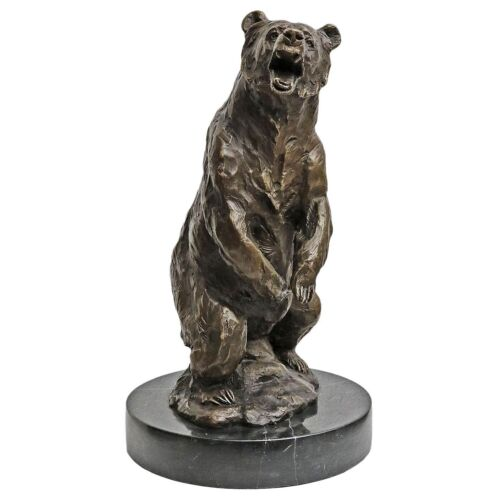 Scultura in bronzo orso grizzly bear figura