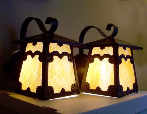917 Pair aRTs Crafts Mission 1910' Porch Light Lamp Wall Sconce Fixtures