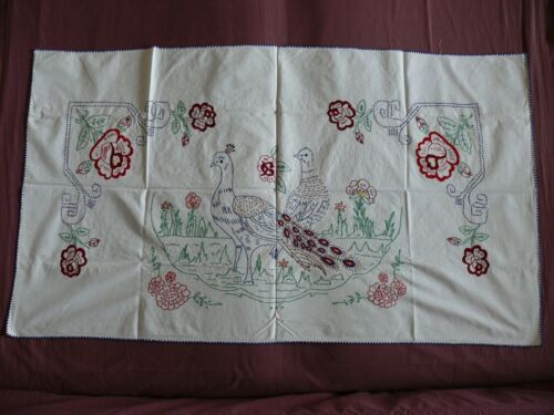 #1844  Beautiful Vintage Hand Embroidered Tapestry 135cm/76cm(53''x30'')