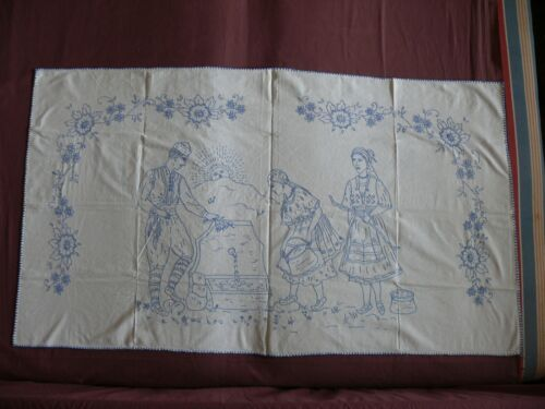#1846  Beautiful Vintage Hand Embroidered Tapestry 132cm/76cm(52''x30'')