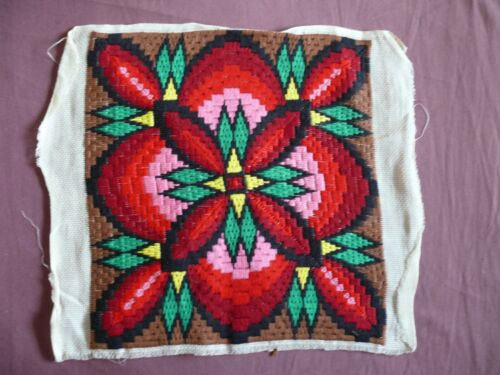 #1865 Beautiful Vintage Hand Embroidered Tapestry 33cm/33cm(13''x13'')