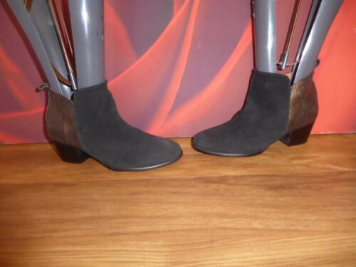 T62 SUPERB PHASE EIGHT BLACK  SUEDE BRONZE LEATHER ANKLE BOOTS  UK 3.5 EU 36