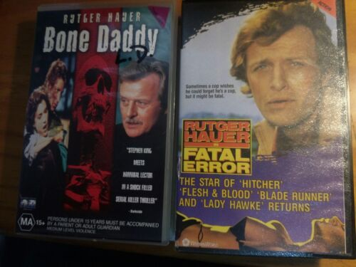 ,2 RUTGER HAUER VHS MOVIES FATAL ERROR & BONE DADDY RATED MA ACTION / THRILLER