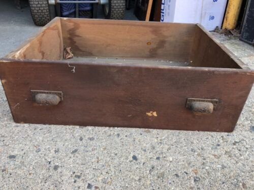 """Vintage Large pine wooden pantry cabinet draw old varnish 26"""" x 19.5"""" x 8.5"""""""