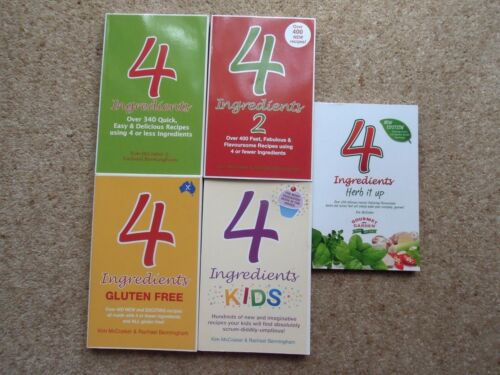 Lot of 5 - 4 INGREDIENTS Books - inc. GLUTEN FREE / KIDS / HERB IT UP  - All NEW