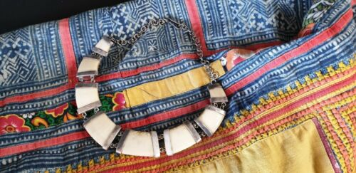 Old Tibetan Yak Bone and Silver Necklace …beautiful collection & accent piece