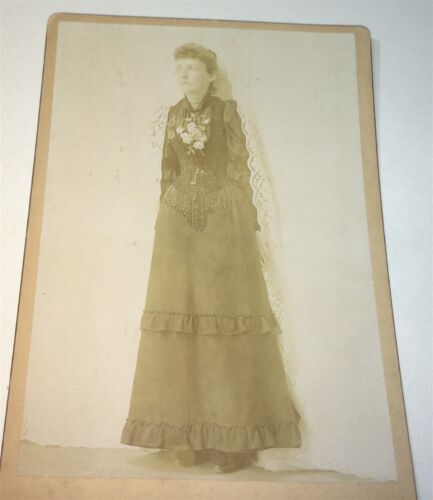 Rare Antique Victorian American Fashion Woman, Out of Curtains Cabinet Photo! US