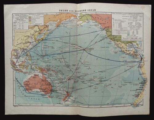 1930 MAP of PACIFIC AND GREAT OCEAN by M.S.E. USSR Soviet Rare