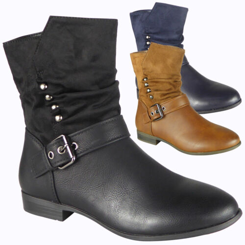 Womens Ankle Ladies Rouched Warm Casual Work School Zip Low Heel Boots Shoes Siz