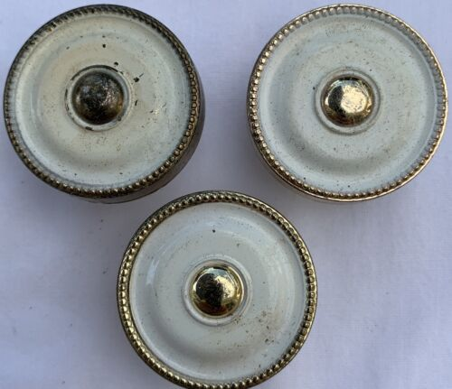 True Vintage Drawer Pull lot JB gold brass shabby white enamel paint Jaybee 8