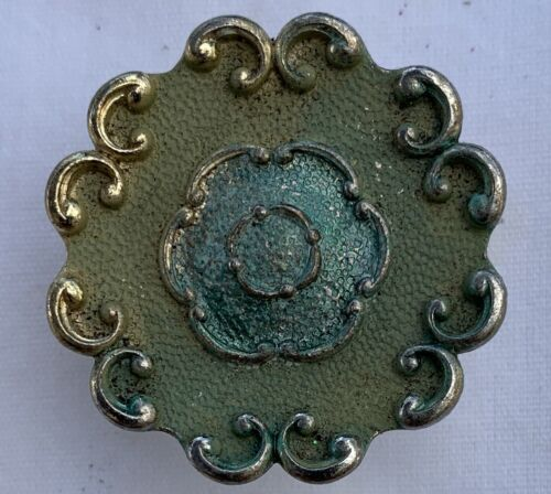 True Vintage Drawer Pull JB 12 gold brass shabby green enamel paint Jaybee