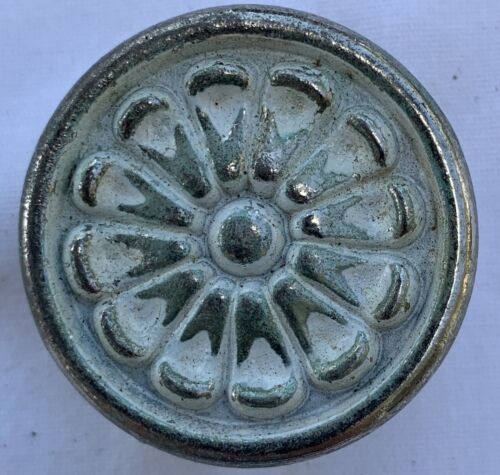 True Vintage Drawer Pull brass shabby white enamel paint Cottage Country Japan