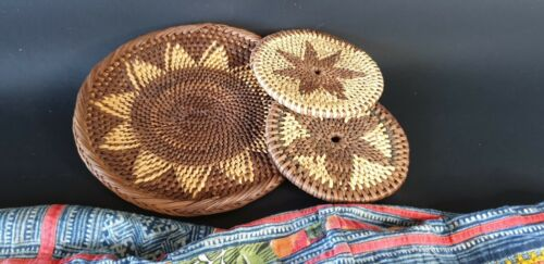 Old Papua New Guinea Bougainville Islands Woven Buka Pot Holder and two Coaster.