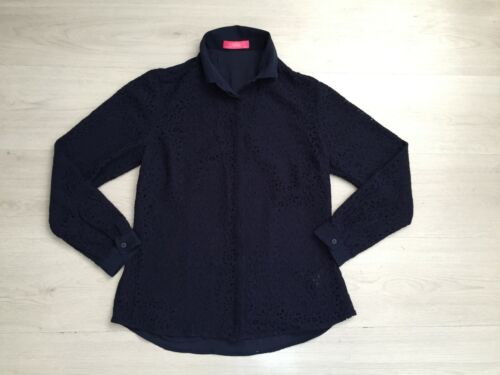 CHARLES TYRWHITT SEMI FITTED CORDED LACE NAVY SILK BLEND SHIRT SIZE 12