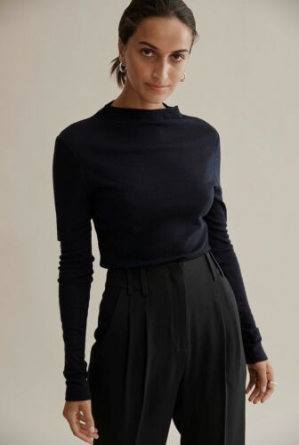 NWT $120 COUNTRY ROAD Pure WOOL Babywool Mock Neck Knit Jumper XS S M L XL Blk