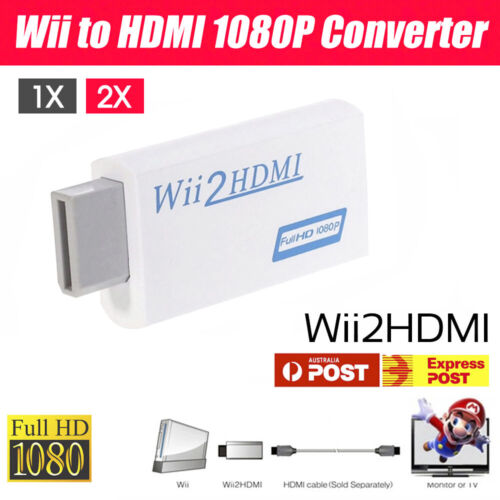 1/2x 1080p Wii HDMI Adapter Wii to HDMI Converter 3.5mm Audio HD Video Output