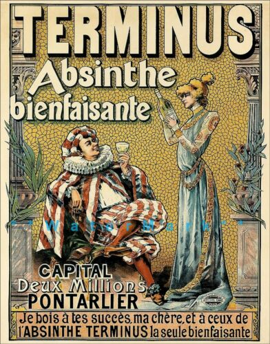 Absinthe Terminus 1895 French Liquor Beverage Vintage Poster Print Retro Advert