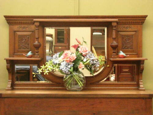 LARGE ANTIQUE OAK OVER MANTLE / WALL MIRROR ~ FINE CARVING, IN VG ORDER  c1920s