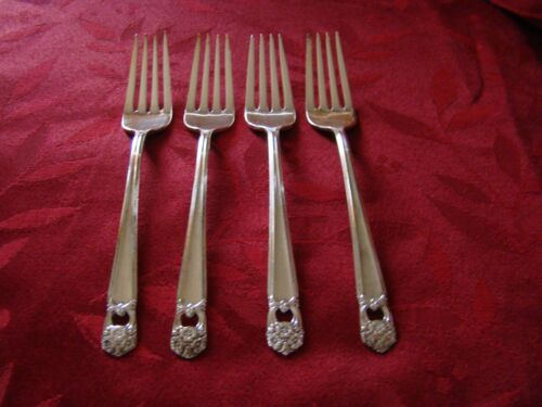 """1847 Rogers Bros. IS """"ETERNALLY YOURS"""" 4 Silver Plate Dinner Forks"""