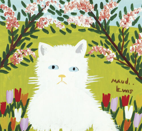 White Cat by Maud Lewis  Paper Print Repro