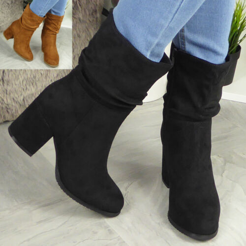 Womens Mid Calf Boots Ladies Rouched High Heel Casual Comfy Zip Shoes Size