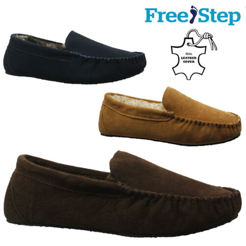 MENS REAL SUEDE LEATHER FUR WARM MOCCASINS SLIPPERS LOAFERS WINTER SHOES SIZE