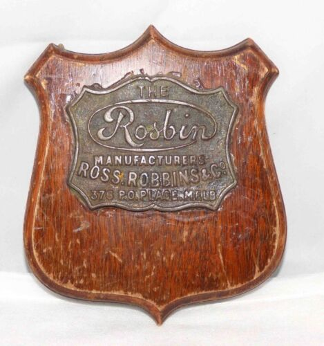 Advertising Australian Plaque Bronze cedar Sign Ross Robins & Co WW1 Melbourne